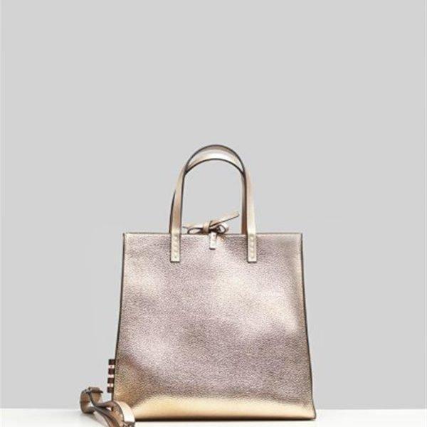 Manila Grace, borsa ecopelle doppia chiusura con zip e nodo in alto