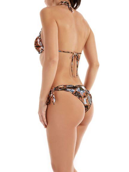 Effek, bikini modello triangolo con slip nodi frou frou sbambolato