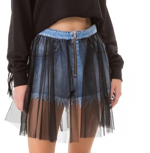 Gaëlle, short in denim con tulle
