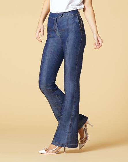 Manila Grace, pantalone in denim a zampa