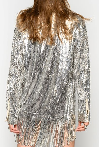 Pinko, giacca camicia in paillettes